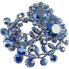 Sherman 1950s Vintage Iridescent Aurora Blue Rhinestones Swirling Brooch Pin
