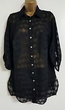 NEW Ex Ev-ns Plus Size 16-32 Textured Printed Chiffon Black Blouse Shirt Top