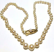 "WOMENS VINTAGE MIKIMOTO 14K GOLD GRADUATED 3.25-6mm PEARL 16.5"" ESTATE NECKLACE"