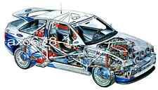 Ford Escort RS Cosworth Rallye / Biasion 1994 -  Bild Schnittzeichnung