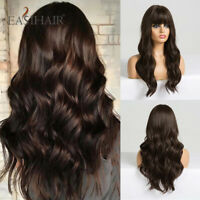 Long Dark Brown Women's Wigs with Bangs Water Wave Heat Resistant Synthetic Wig