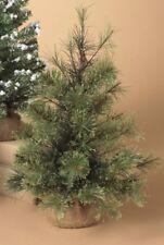 "GERSON 18"" MINIATURE PINE CHRISTMAS TREE w/ROUND PINE BURLAP BASE STYLE 1"