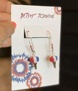 NWT $35 Betsey Johnson Gold Tone Red, White & Blue Ice Cream Cone Drop Earrings