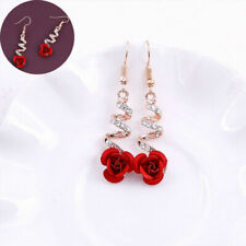 Fashion Women Crystal Red Rose Flower Gold Earrings Dangle Drop Wedding Jewelry