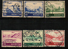 SWITZERLAND 1941 AIRS  6 VALUES TO 2 FRANCS. FINE STAMPS.