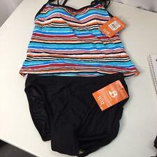 Tankini Set Swim Suit Bathing Suit Size 12 New Multi Color Top Black Bottoms