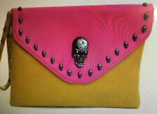 Dasein Womens Clutch Wristlet Envelope Pink Skull Faux Leather Purse Studded New