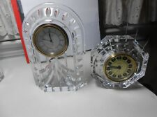WATERFORD CRYSTAL CLOCKS (2) OVERTURE & SMALLER-OCTAGON W/GOLD FACE LOOK WOW