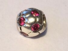 Authentic Pandora Pink Red CZ Soccer Ball Charm 790444 retired