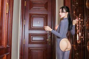 Women Shiny Zipper Leotard Open Bust ASS Jumpsuit Transparent Lingerie Bodysuit