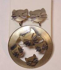 Vintage Beau Sterling Silver 925 Kitty Cat Pin Brooch & Screw Back Earrings Set