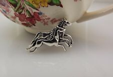 Sterling Silver 925 Galloping HORSE'S Brooch Pin 4.4Grams