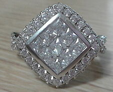 Bella Luce Rhodium Plated Quad Ring All White Rounds  4.80ctw  Sz.10