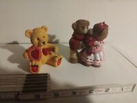 Vintage? Two Different Bear Decorations, Love, Hearts, Valentines