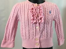 Ralph Lauren Baby Girl 9 Months Pink Ruffled Cable Knit Cardigan Sweater