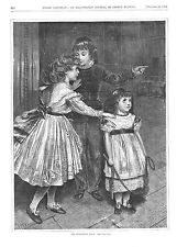 The Forbidden Room -  Children -  Girl with Jump Rope - Victorian Print - 1870