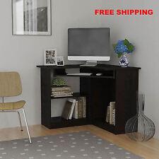Corner Computer Desk Great for Dorm College Space Saving in Small Room Espresso