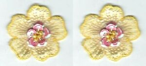 Yellow Flower Embroidery Sequin Bead Patch Lot of 2