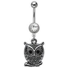 Owl Belly Ring Clear Black Naval Dangle Body Jewelry 14g CZ Animal Bird