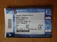 16/02/2013 Ticket: Birmingham City v Watford  (Blue Complimentary Ticket)