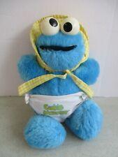 Vtg Playskool 1983 Sesame Street Plush Baby Cookie Monster Diaper Bonnet Rattle