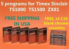 5 programs for Sinclair ZX81 Timex 1000 & 1500 computers + 5 FREE C10 CASSETTES