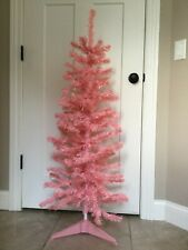 Artificial Christmas Tree 48� Pink 2 Pc. W/Stand Vintage Excellent