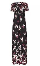 MARKS AND SPENCER PER UNA BUTTERFLY PRINT MAXI DRESS BLACK MIX SZ 12 LONG BNWT