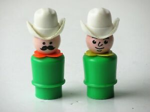 (2) Fisher Price Little People Cowboy Figures (Green Body, White 10 Gallon Hats)