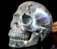 "6.8""LABRADORITE & AURA TITANIUM Carved Crystal Skull, Realistic, Crystal Healing"