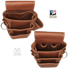 AMISH LEATHER TOOL POUCH Construction Work Belt Bag Set Left Right USA HANDMADE