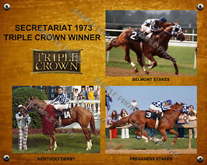 SECRETARIAT 1973 TRIPLE CROWN DERBY PREAKNESS BELMONT 16 X 20 PHOTO COLLAGE