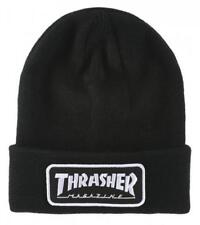 THRASHER MAGAZINE LOGO PATCH BEANIE BLACK