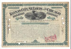 Stk Kansas City, St. Louis & Chicago RR 1936 Preferred An Alton RR Co. Green