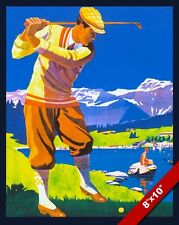 VINTAGE SCOTTISH GOLF COURSE VACATION TRAVEL AD POSTER ART REAL CANVAS PRINT