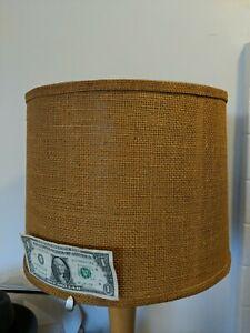 "VTG MidCentury Burlap Drum Lamp Shade 13""-14"" Natural Textured 11"" Tall BEAUTY"