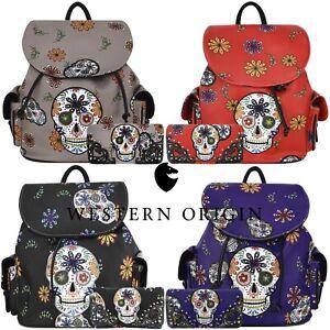 Sugar Skull Day of the Dead Backpack Daypack Women School Bag Biker Purse Wallet