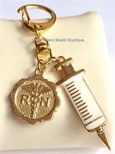 RN Nurse Caduceus Syringe Keychain Nursing Gift Purse Tag Ring Gold Plated USA