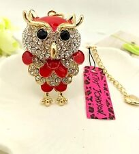 Betsey Johnson Necklace Patriotic Owl  Red Crystals