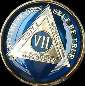 7 Year Midnight Blue AA Medallion Alcoholics Anonymous Chip Gold Tri-Plate Seven