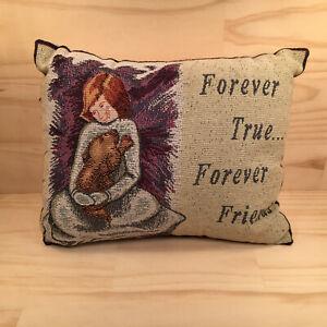 """FOREVER FRIENDS """"Beige"""" Lovely Little Tapestry Velvet Cushion Plush Soft Pillow"""