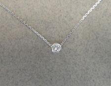 DIAMOND SOLITAIRE BEZEL NECKLACE 14K WHITE GOLD 0.05CT SI1 G COLOR NATURAL DIAMO