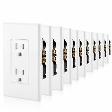 10 Pack BESTTEN 15A Decor Receptacle Outlet with Tamper-Resistant Wall Plate, UL