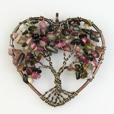Natural Tourmaline Tree of Life Reiki Chakra Copper Heart Pendant for Necklace
