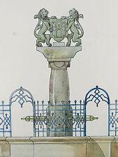 JUGENDSTIL Brunnen Entwurf ° Aquarell ° Kunstschlosser Wilh.Caspari um 1910