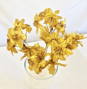 21 Vintage Gold Mini Poinsettias Silk Flowers Fake Miniature Christmas Metallic