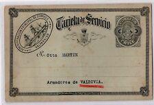 Chile 1895 Service Card Ship Valparaiso to Valdivia X-RARE USED condition