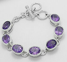 "8"" Solid Sterling Silver Amethyst Oval Bracelet 28.7g+10mm BOLD"