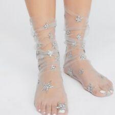 Womens Glitter Mesh Socks - Trendy Girls Sheer Transparent Ankle Socks Elastic Soft Fishnet
