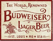 Budweiser Lager Beer Vintage Retro Tin Sign 16 x 13in